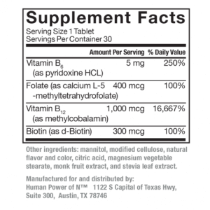 Supplement facts label for Active B-Complex