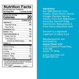 Nutrition facts and ingredients for SuperBeets Collagen