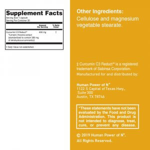 Supplement facts label for Turmeric-Curcumin
