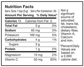 nutrition facts for superbeets powders