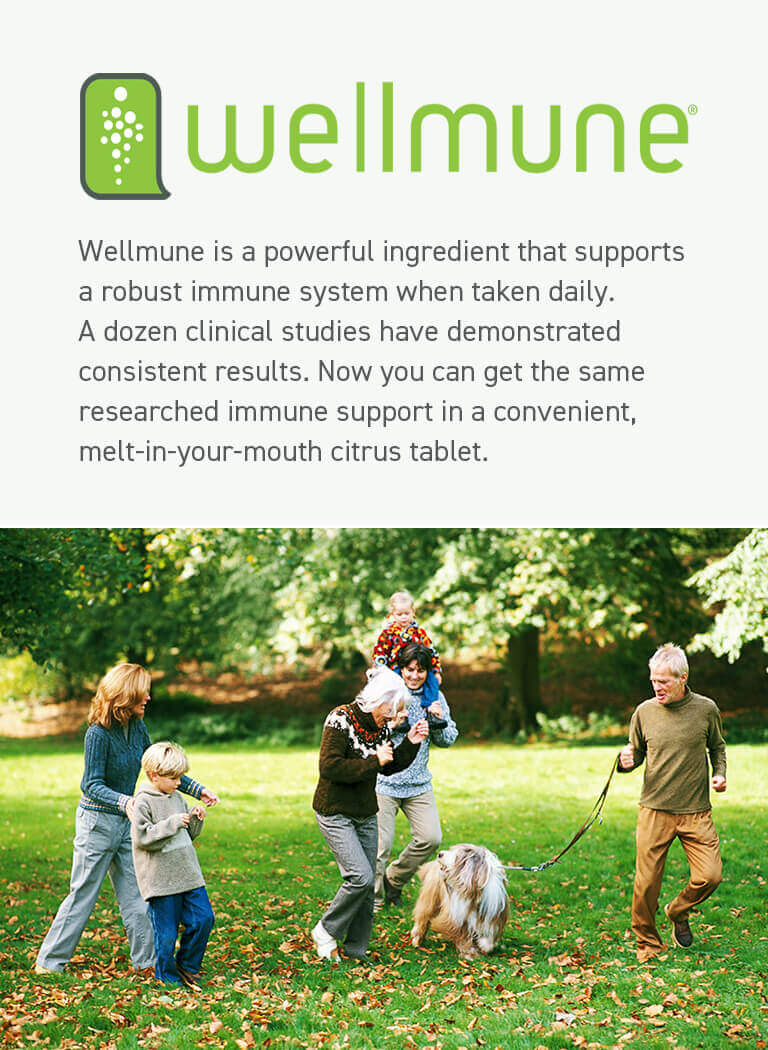 A family playing in the park with their dog and a description of Wellmune, the main ingredient of Advanced Immune Support